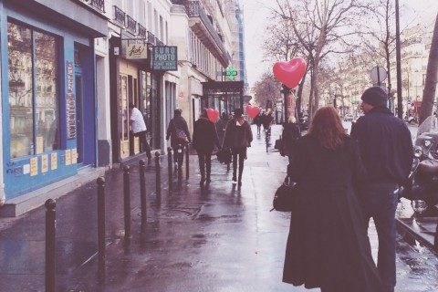Paris streets on Valentine's day