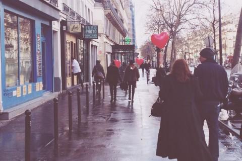Paris streets on Valentine's day